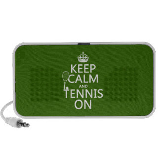 Keep Calm and Tennis On (any background color) Laptop Speaker