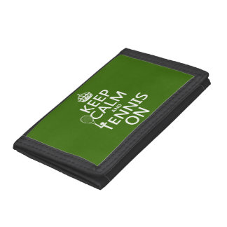 Keep Calm and Tennis On (any background color) Trifold Wallet