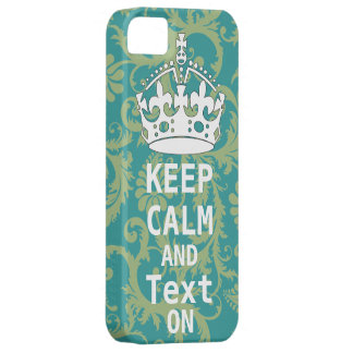 KEEP CALM AND Text ON change teal any color iPhone 5 Case