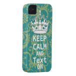 KEEP CALM AND Text ON change teal any colour iPhone 4 Covers