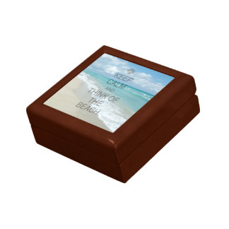 Keep Calm and Think of the Beach Small Square Gift Box
