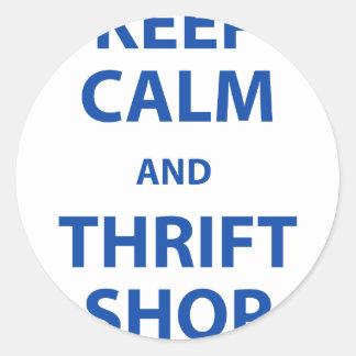 Keep Calm and Thrift Shop Round Sticker