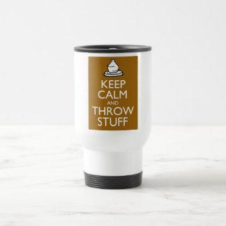 Keep Calm and Throw Stuff 15 Oz Stainless Steel Travel Mug