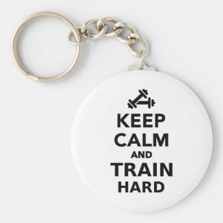 Keep calm and train hard key chains