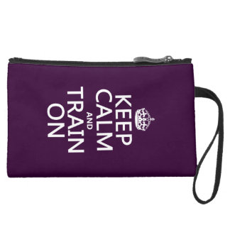 Keep Calm and Train On (customizable color) Suede Wristlet