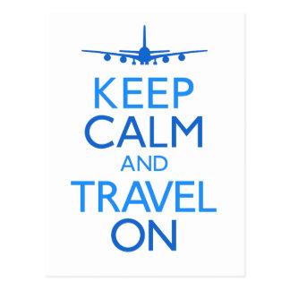 Keep Calm and Travel On Postcard