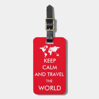 Keep calm and travel the world bag tag