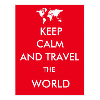 Keep calm and travel the world postcard