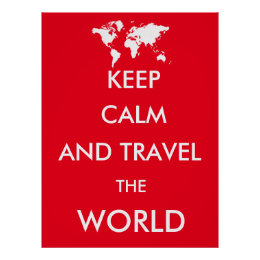 Red world map posters prints zazzle uk keep calm and travel the world poster gumiabroncs Gallery