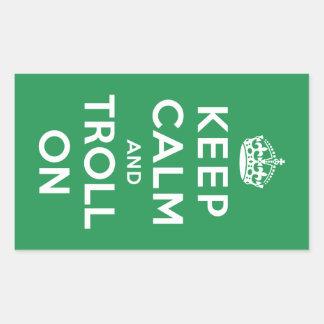 Keep Calm and Troll On Rectangular Sticker