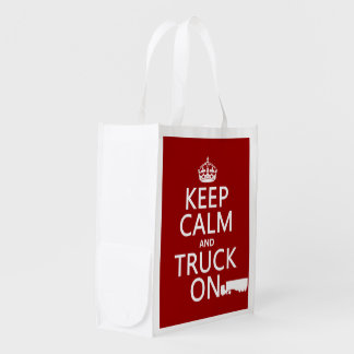 Keep Calm and Truck On (in any color) Reusable Grocery Bag