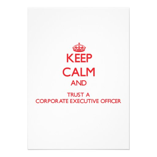 Keep Calm and Trust a Corporate Executive Officer Personalized Invitation