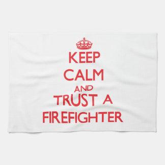 Keep Calm and Trust a Firefighter Tea Towel