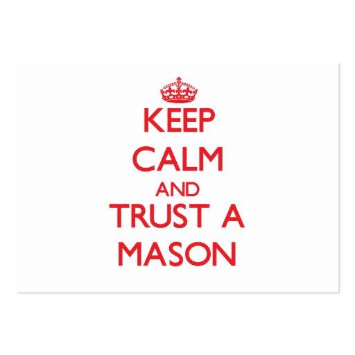 Keep Calm and Trust a Mason Business Card Templates