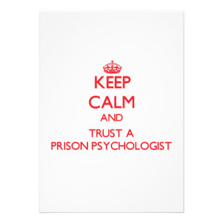 Keep Calm and Trust a Prison Psychologist Personalized Invites