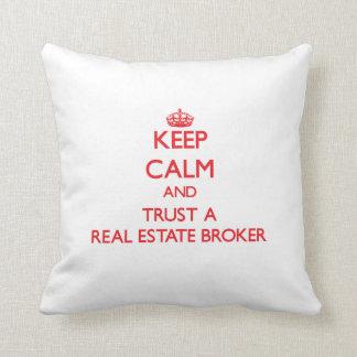 Keep Calm and Trust a Real Estate Broker Throw Pillow