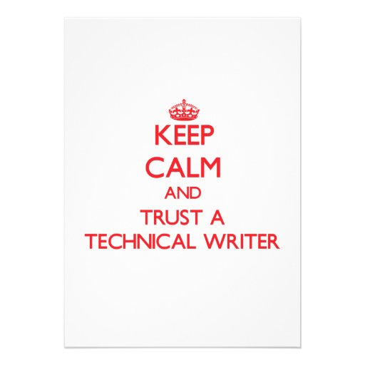 Keep Calm and Trust a Technical Writer Personalized Announcement