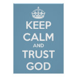 Keep Calm and Trust God Blue and White Poster
