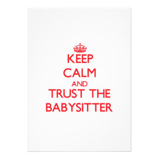 Keep Calm and Trust the Babysitter Personalized Invitations