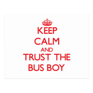 Keep Calm and Trust the Bus Boy Postcards