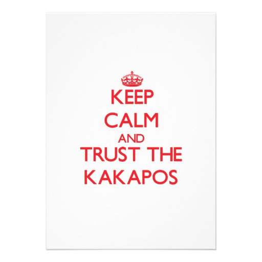 Keep calm and Trust the Kakapos Personalized Invitation
