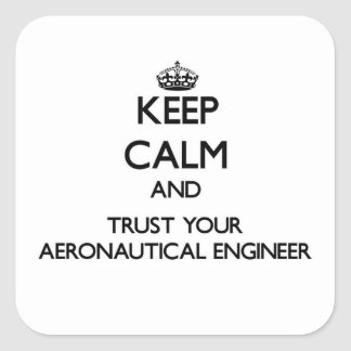 Keep Calm and Trust Your Aeronautical Engineer Square Sticker