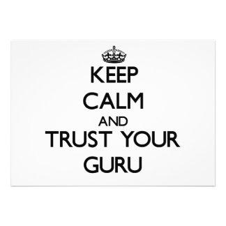 Keep Calm and Trust Your Guru Custom Invitations