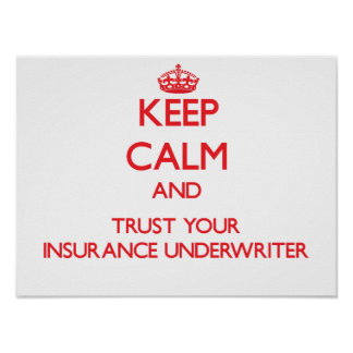 Keep Calm and Trust Your Insurance Underwriter Poster
