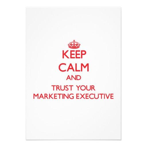 Keep Calm and trust your Marketing Executive Custom Invitations