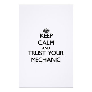 Keep Calm and Trust Your Mechanic Personalized Stationery