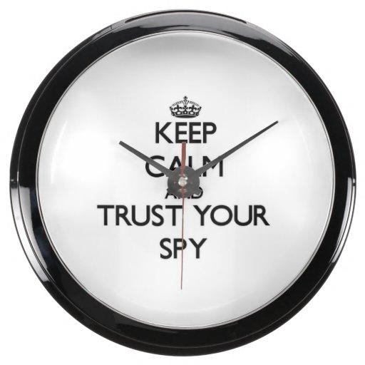 Keep Calm and Trust Your Spy Fish Tank Clocks