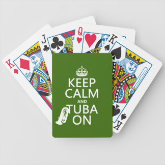Keep Calm and Tuba On (any background color) Bicycle Playing Cards