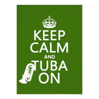 "Keep Calm and Tuba On (any background color) 5.5"" X 7.5"" Invitation Card"