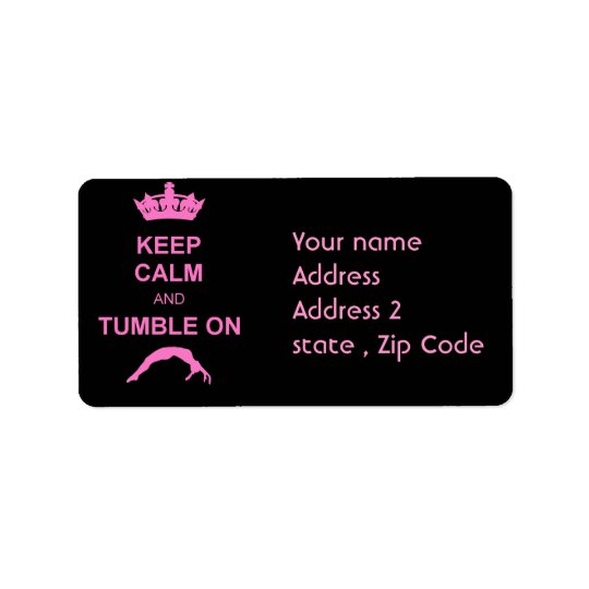 Keep calm and tumble gymnast address label