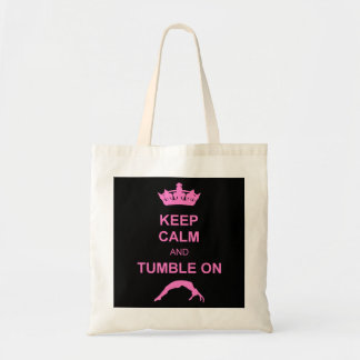 Keep calm and tumble gymnast budget tote bag