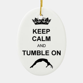 Keep calm and tumble gymnast christmas ornament