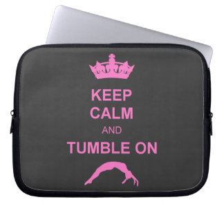 Keep calm and tumble gymnast laptop sleeve