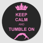 Keep calm and tumble gymnast round sticker