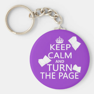 Keep Calm and Turn The Page Basic Round Button Key Ring