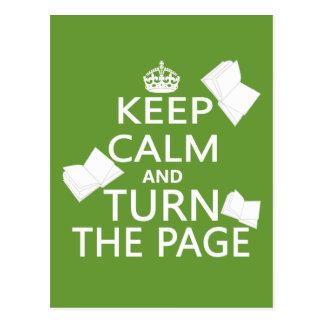 Keep Calm and Turn The Page Postcard