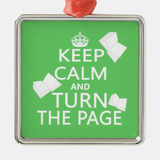 Keep Calm and Turn The Page Silver-Colored Square Decoration