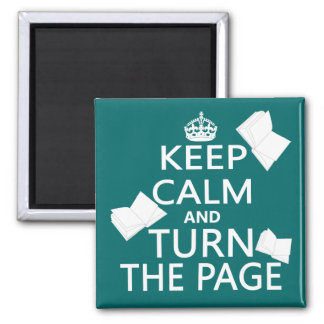 Keep Calm and Turn The Page Square Magnet