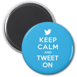 Keep Calm and Tweet On 6 Cm Round Magnet