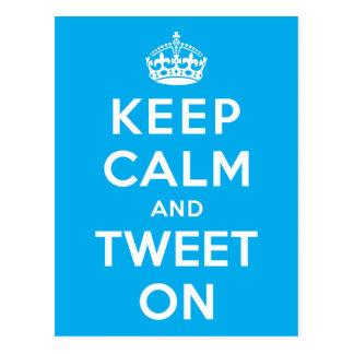 Keep Calm and Tweet On Postcard