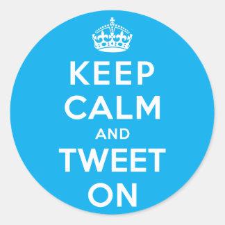 Keep Calm and Tweet On Round Sticker