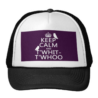 Keep Calm and T'Whit-T'Whoo (owls) (any color) Hat