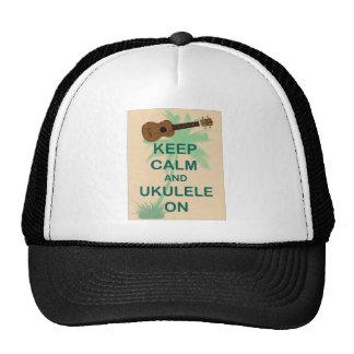 Keep Calm and Ukulele On Fun Original Print Trucker Hats