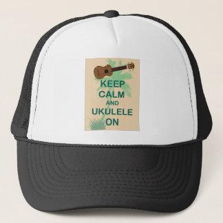 Keep Calm and Ukulele On Fun Original Print Trucker Hat