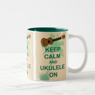 Keep Calm and Ukulele On Fun Original Print Two-Tone Coffee Mug