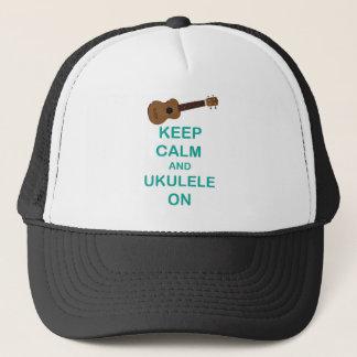 Keep Calm and Ukulele On unique Hawaii fun print Trucker Hat
